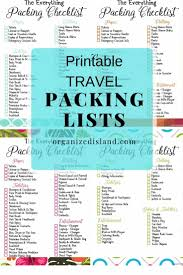 Packing For Vacation Lists Travel Packing List Printables