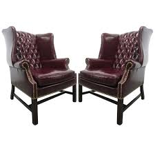 pair vintage leather tufted wingback chairs at 1stdibs white leather tufted wingback chair