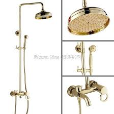 rain shower head bathtub. Bathroom Wall Mounted Gold Color Brass Single Handle Bathtub Mixer Tap Rain Shower Faucet Set With Head
