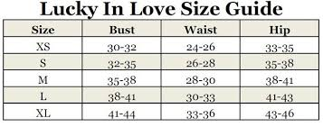 Lucky Chart Lucky In Love Womens Size Chart Lucky In Love