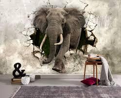3D Elephant Shattered Wall Sticker Wall ...
