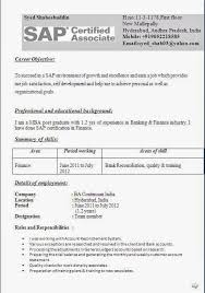 Sap Mm Resume Sample For Freshers