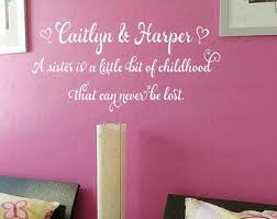 sister wall decal quotes baby nursery twin girls teen vinyl wall decals ba0343 on vinyl wall art quotes for nursery with twin wall decals etsy