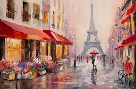 paris eiffel tower original oil painting on canvas a pair of