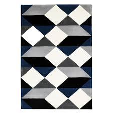 dresden navy  grey geometric wool rug