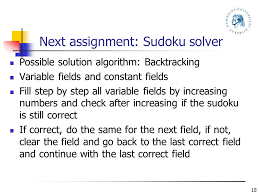 "assignments in st semester course ""oop java"" as small  next assignment sudoku solver"