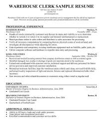 Resume For Warehouse Clerk