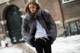 grey fur coat winter outfit how to wear a fur coat