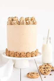 a cookie dream chocolate chip cookie cake with cookie dough filling and cookie frosting