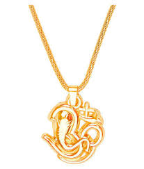 shining jewel 24k gold pendant necklace with om ganesha for men sj 2325 at low in india snapdeal