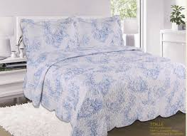 french country cottage quilted bedspread comforter set fl toile de jouy blue