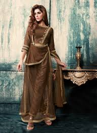 Front Open Salwar Neck Designs Subtle Brown Georgette And Net Designer Front Open Salwar Suit