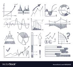 Business Charts And Diagrams Set In Doodle Style