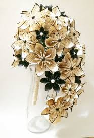 Paper Origami Flower Bouquet Cascading Bouquet Paper Bouquet One Of A Kind Origami Bridal