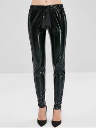 glossy patent leather pants black l