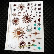 5598 руб 25 стилей модные золотые вспышки солнце луна звезды временные татуировки