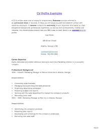 Resume Profile College Student Oneswordnet