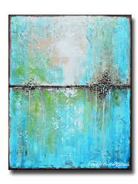 giclee print art abstract painting aqua blue green white textured