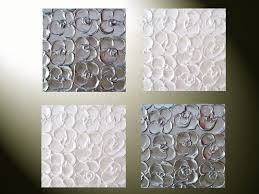 Metallic Home Decor Custom Art Abstract Paintings Metallic Sculpted Wall Decor Set Of