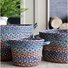 the braided rug company utility braided baskets carnival blue large