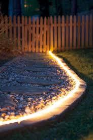 creative outdoor lighting ideas. Bright Lights Shining From Brick Edging Creative Outdoor Lighting Ideas D