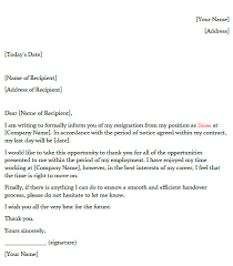 Resigned Format Driver Resignation Letter Example Toresign Com