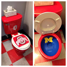 Ohio State Bedroom Fan Has Ohio State Toilet With Michigan Bowl Because College
