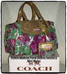 COACH Madison Floral Audrey Purple Gold Green Bag Satchel + Matching Mini  Wallet
