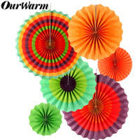 ourwarm 6pcs paper fan mexican fiesta party flowers decoration backdrop diy decorations