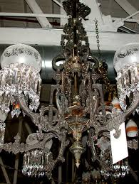 spectacular american gas bronze cast iron chandelier w intricate detailing for