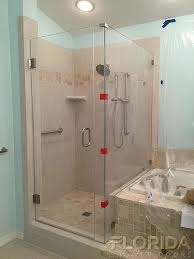 glass to wall hinge shower door with inline panel and return notched panel