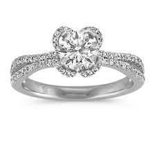 petal halo enement ring with pave set round diamonds