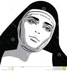 Beautiful Nun Woman Portrait Vector Black White Style Illustration