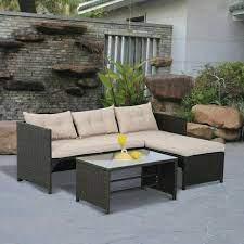 piece outdoor rattan wicker patio sofa