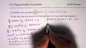 quadratic trigonometric equation with decimal answers mhf4u