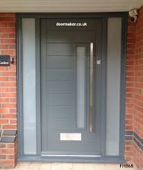 contemporary grey door and frame sidelights