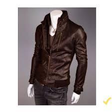 men pu leather high street jacket brown color