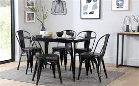 furniture choice. kew 120cm black metal dining table - with 4 chairs furniture choice