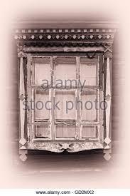 vintage window drawing. russian vintage window platband backdrop - stock image drawing