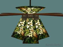 Bayview Market ~ Art Nouveau / Deco Ceiling Fan + Tiffany Glass Lamp Shades  ~ Also Nice With Mission Style Decor