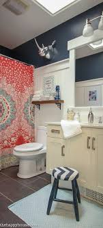 Boho Chic Bathroom Makeover with Hale Navy, Coral and Turquoise at  thehappyhousie.com-
