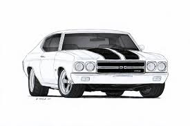 1970 Chevrolet Chevelle SS Pro Touring Drawing by Vertualissimo on ...