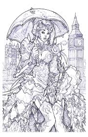 London Steampunk Adult Colouring Page By