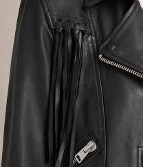 allsaints tassel balfern leather jacket black