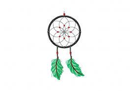 Dream Catcher Outline Green Feather Dream Catcher Machine Embroidery Design 31