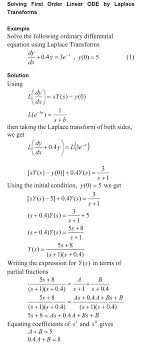 solving first order linear ode by laplace transform solution technique