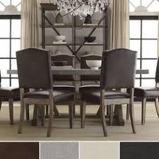 tribecca home benchwright nailhead upholstered dining side chairs set of 2 overstock