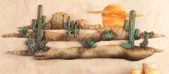 3d desert sunset cactus southwest hanging metal wall art accent adobe home decor on southwestern metal wall art with 3d desert sunset cactus southwest hanging metal wall art accent