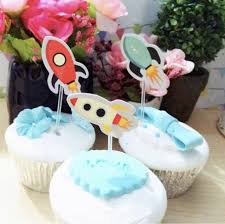 Cake Decorating Accessories Wholesale wholesale 100 PCS Outer Space Rocket Cupcake Topper Cake 16