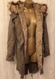 details about asos detachable faux fur lining hood parka khaki winter warm coat uk 4 to 6